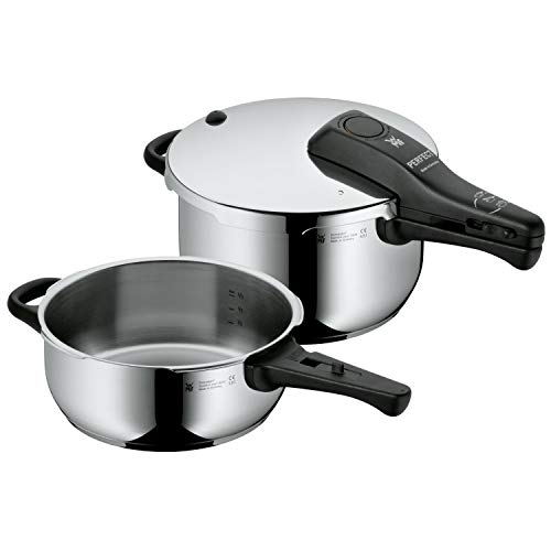 WMF Perfect Schnellkochtopf Set, 2-teilig, 4,5l & 3,0l, Cromargan Edelstahl poliert, 2 Kochstufen, Einhand-Kochstufenregler, Induktion